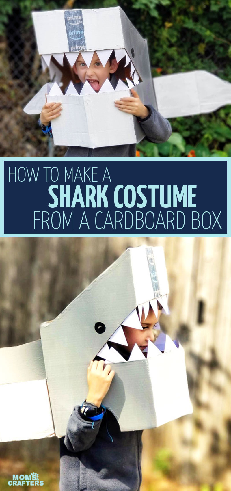 Click to learn how to make a DIY shark costume out of a cardboard box. This no sew Halloween costume can be adapted for Baby Shark or for pretend play! It's also a great man eating shark DIY costume idea.