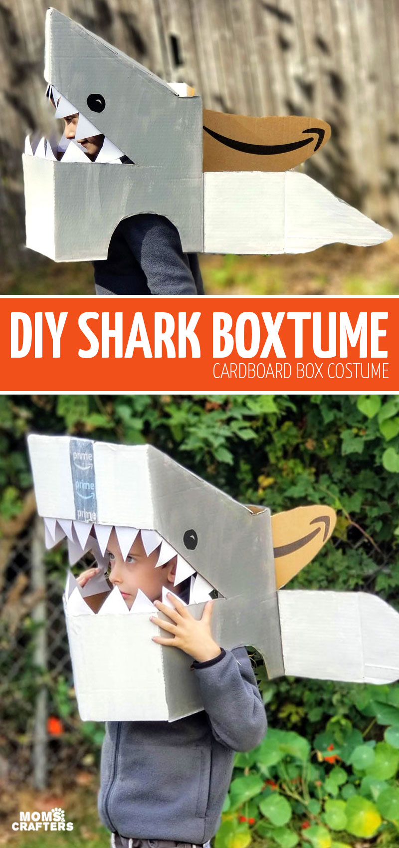 Craft an easy DIY Shark Costume - a great last minute Halloween costume idea using a cardboard box. Call it a Boxtume! This upcycled inexpensive costume is so easy to make.