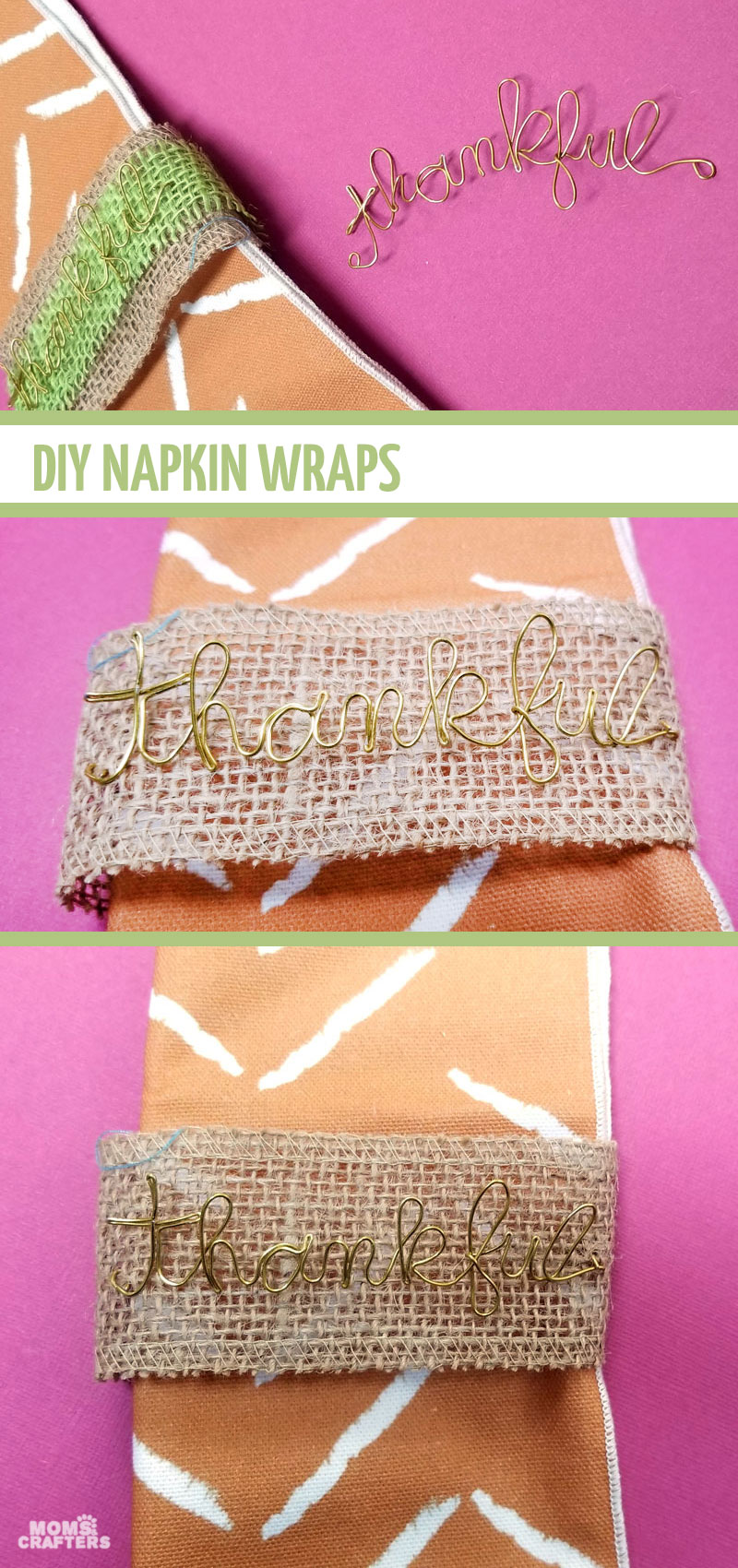 Click to learn how to make your own DIY Thanksgiving napkin rings with wire and burlap