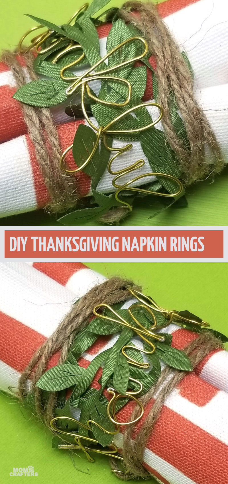 Craft some DIY Thanksgiving napkin rings with leaves and twine and a gorgeous fall themed table setting! You can turn these into names instead of placecards. They make stunning table decorations!