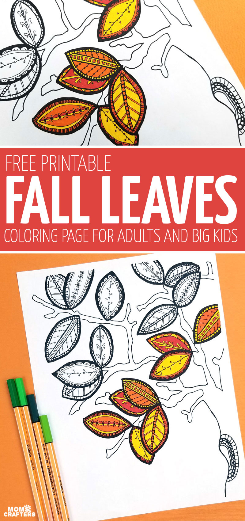 Click for free printable atumn coloring pages for adults! This free fall adult coloring page is not too complex and great for unwinding and relaxing with!