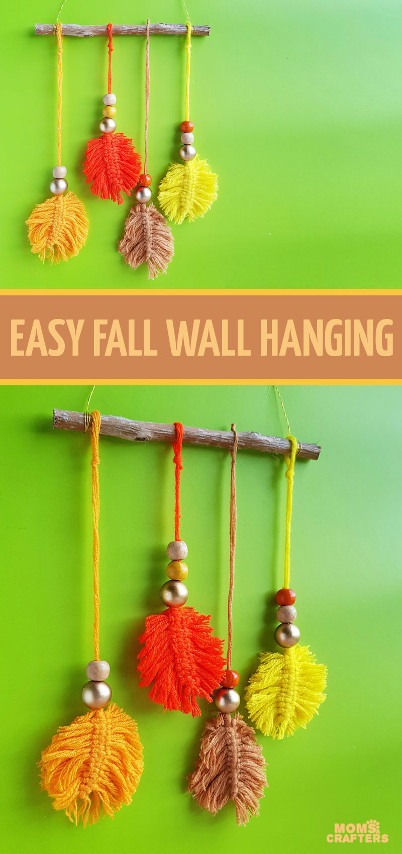 click for a tutorial on how to make macrame leaves for fun fall DIY decor! This yarn wall hanging for autumn is fun and colorful and a cool fall craft for teens and tweens.
