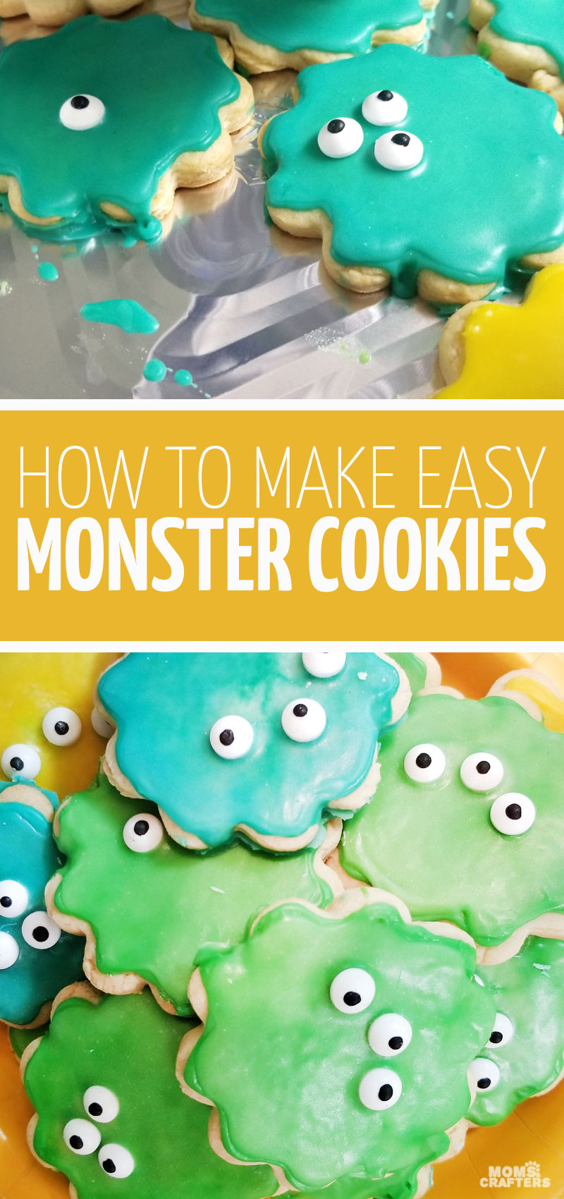 Check out these supre easy monster birthday party food ideas including these easy monster cookies using a royal icing hack and candy eyes!