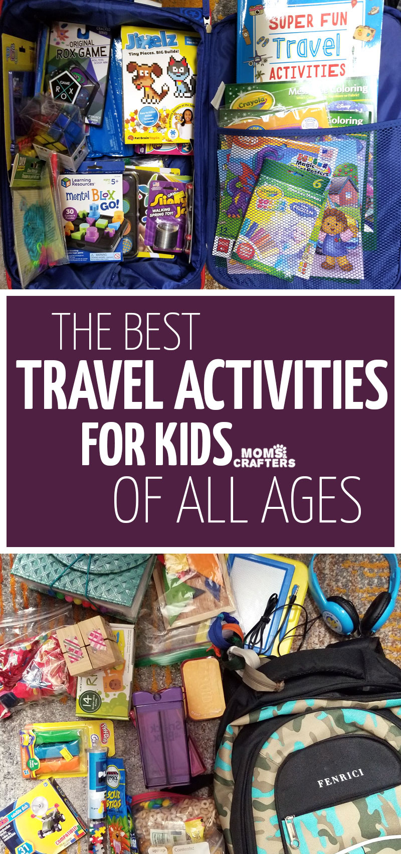 CLick for the ultimate list of airplane activities for kids of all ages! These cool travel activities for preschoolers and grade school age kids include fun ideas for long flights, cool travel toys and crafts, and more!