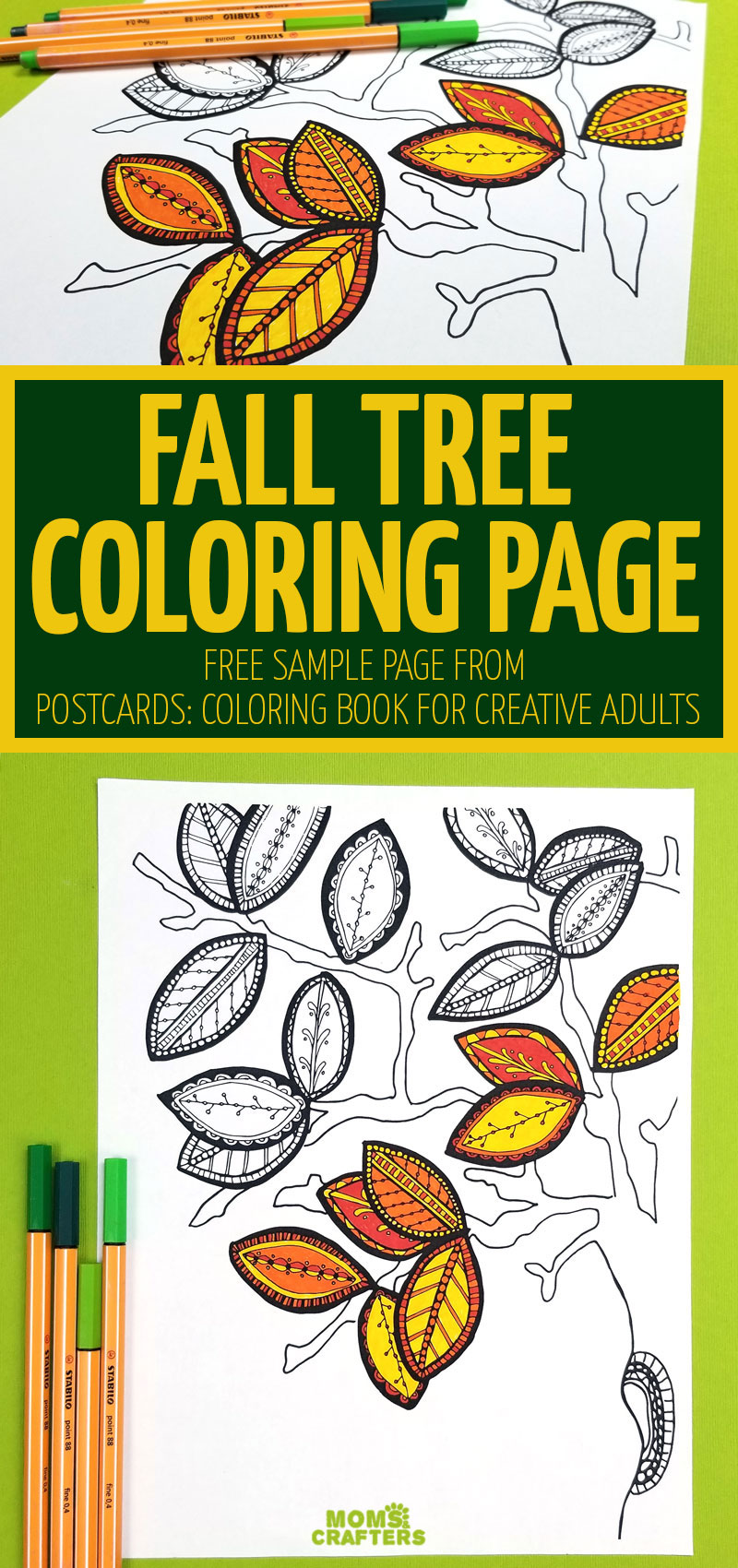 Click for a free printable fall adult coloring page - perfect for grown-ups and big kids!