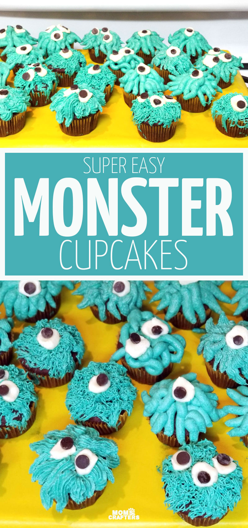 Click for monster birthday party food ideas including these adorable monster cupcakes that are easy for beginners to make!