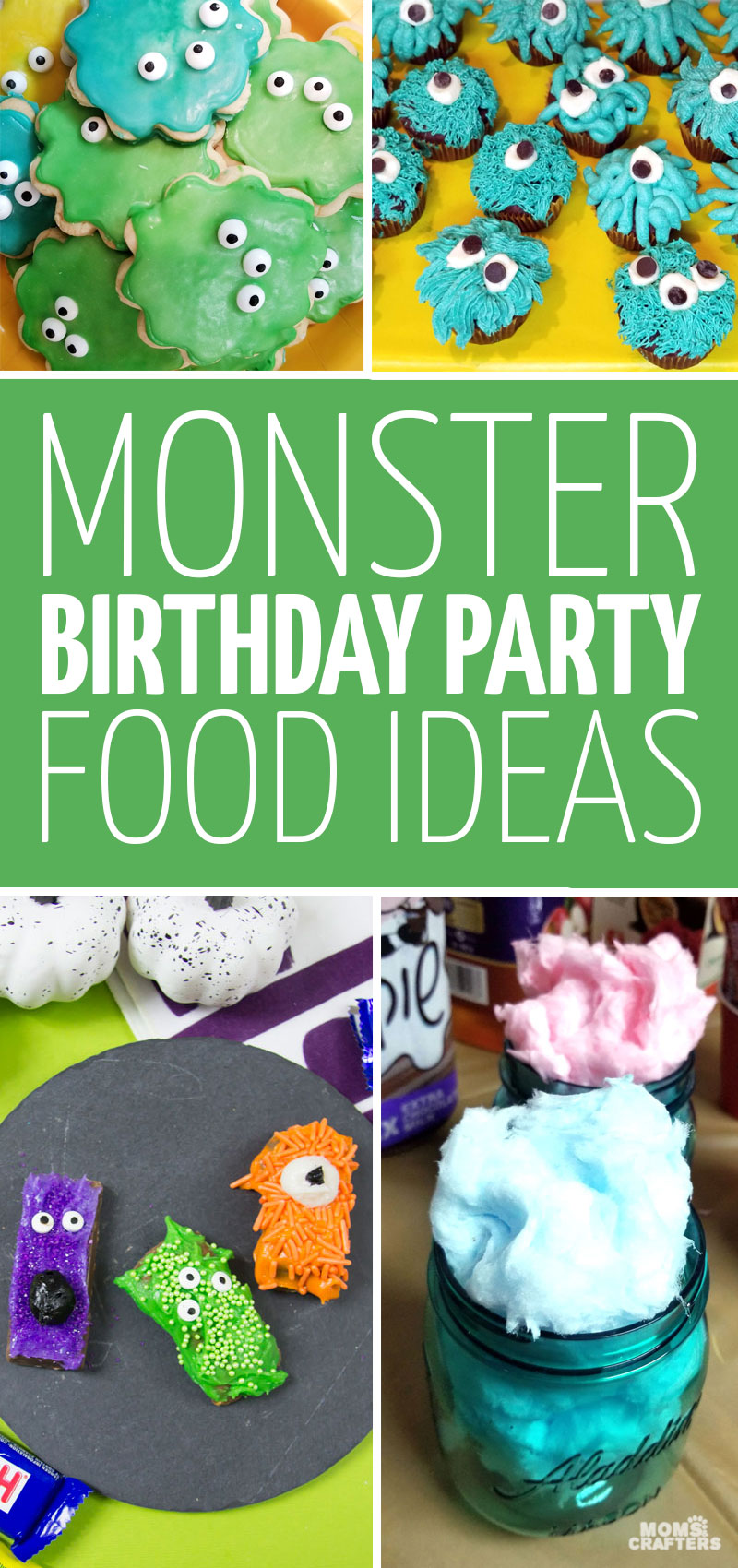 Click for some cool monster birthday party food ideas - perfect for a first, second, third, or fourth birthday theme!