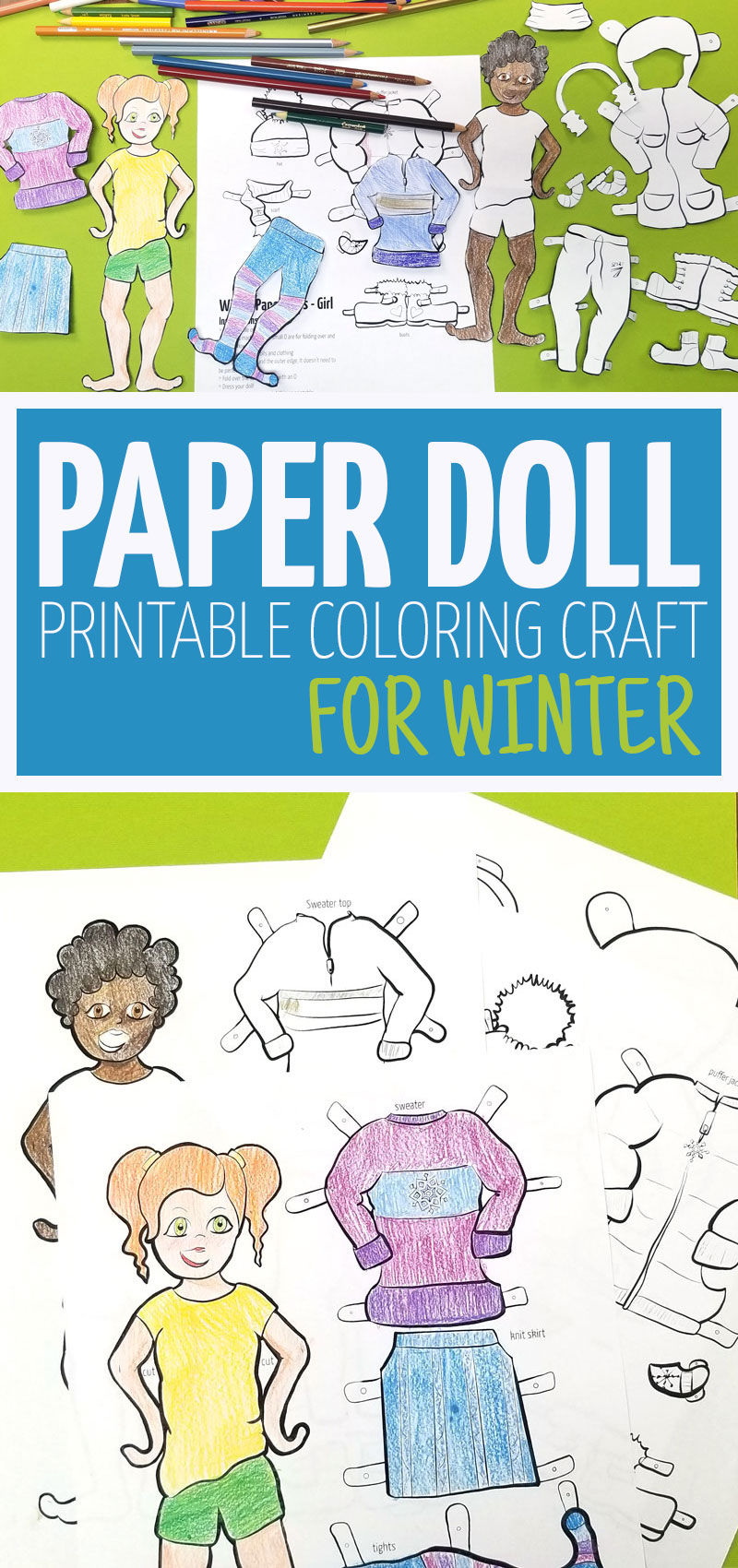 Click to get your printable winter dress up dolls for boys and girls! These cool paper dolls are perfect for teaching kids about appropriate winter clothing and outerwear.