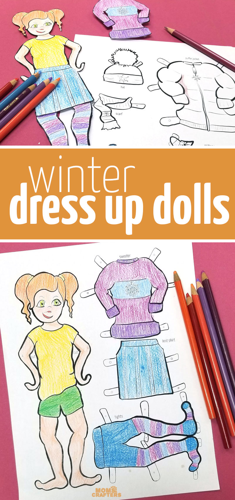Paper dolls featuring winter clothing! This fun printable paper toy for kids is also a cool winter coloring page and paper craft for kids and tween girls.