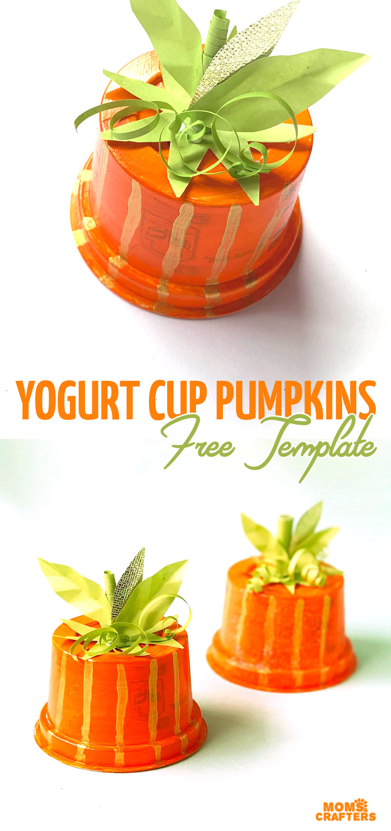 Make your own recycled pumpkins using yogurt or applesauce cups! This fun pumpkin craft for kids - for toddlers, preschoolers, and big kids too - is super easy and uses stuff you already have. And the cool topper comes with a free printable template.