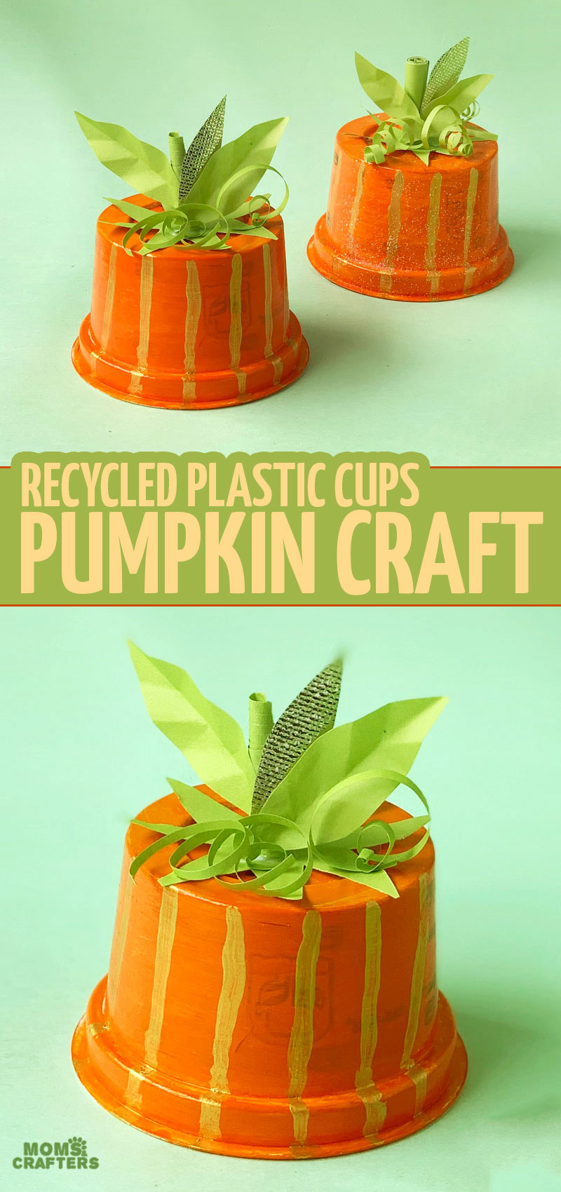 An easy peasy recycled pumpkin craft made from plastic cups - this sweet Halloween craft is also a great fall craft for preschoolers, toddlers, big kids and tweens - and it comes with a free printable template to make it even easier!