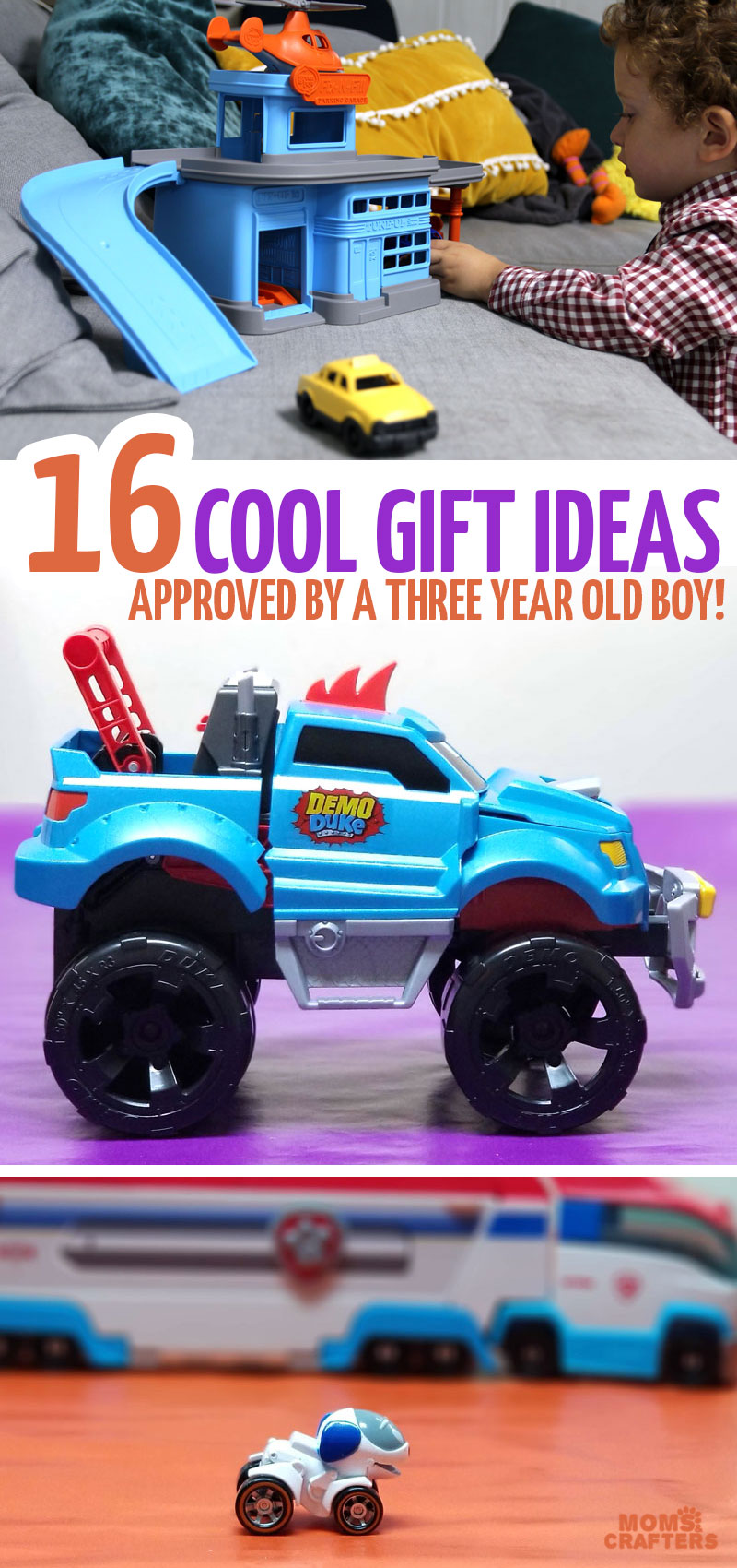 Click for the best birthday gifts for 3 year old boys that make great Christmas gifts and Chanukah gifts for older toddlers too! These sweet toy gift ideas are fun for kids who love cars, Paw Patrol, and anything in between.