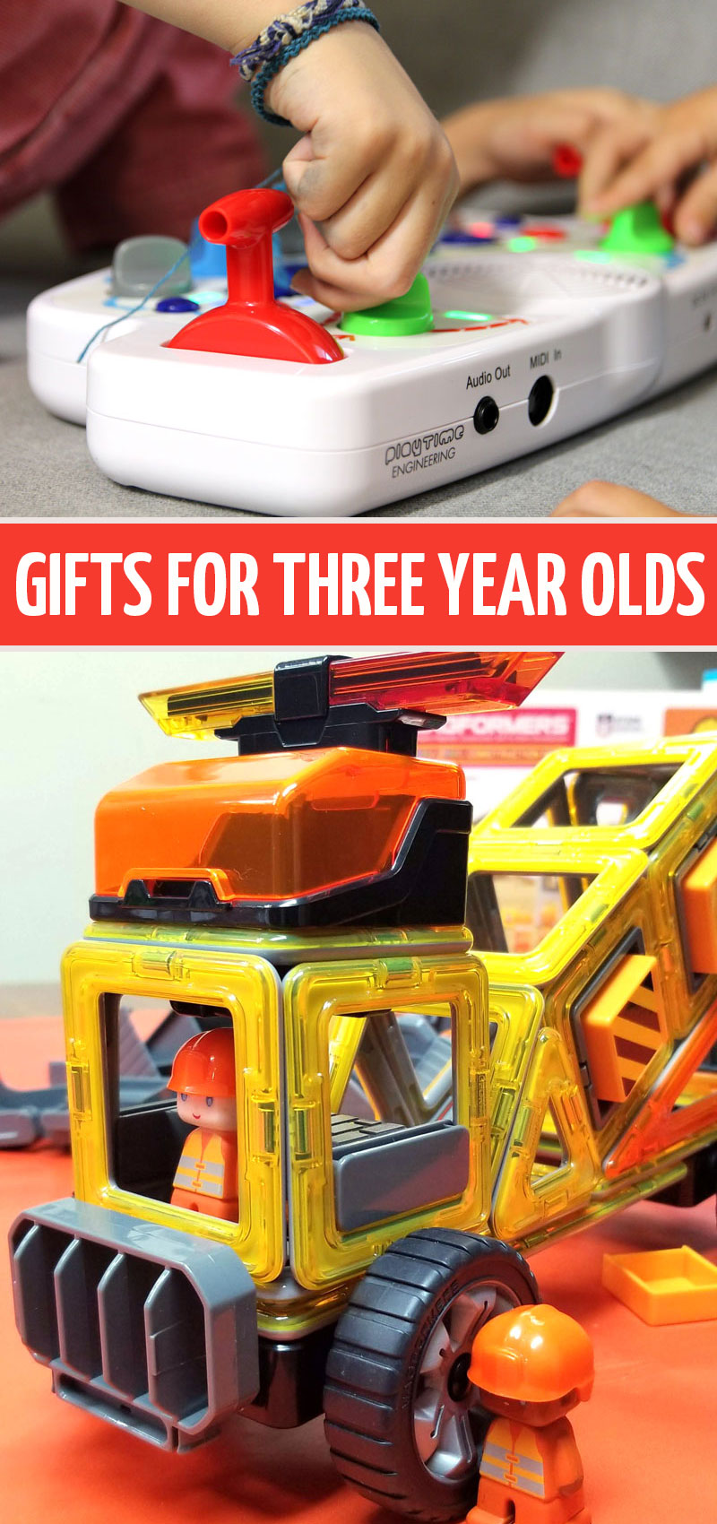 These are our favorite gifts for three year olds! These fun toys and games are perfect for birthday gifts for 3 year old boys or holiday gifts for older toddler boy sand girls!