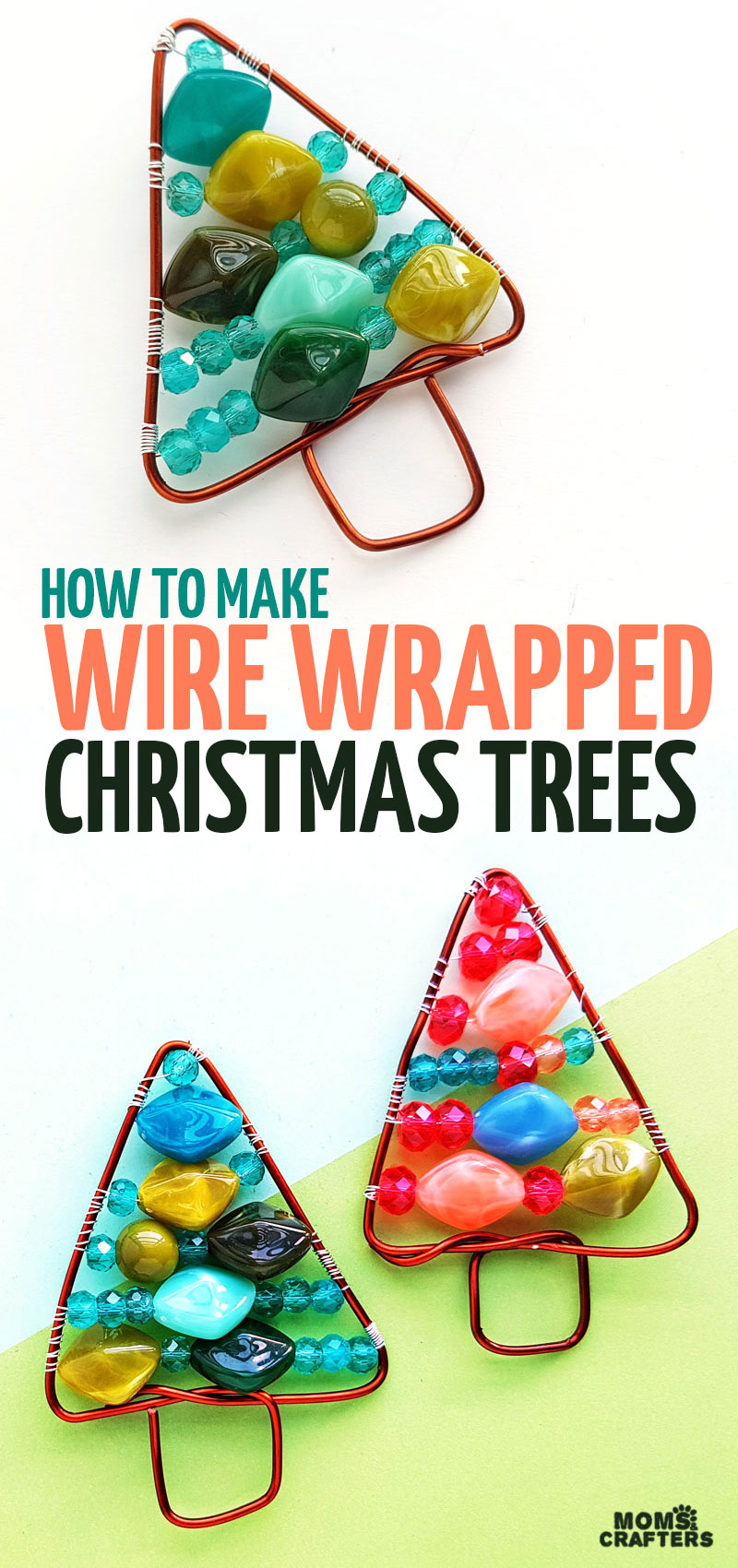 Craft your own DIY beaded Christmas trees and learn how to make wire wrapped trees. This easy wire wrapping project for beginners is fun for making holiday jewelry, beaded ornaments, or wall hangings for Christmas decor!
