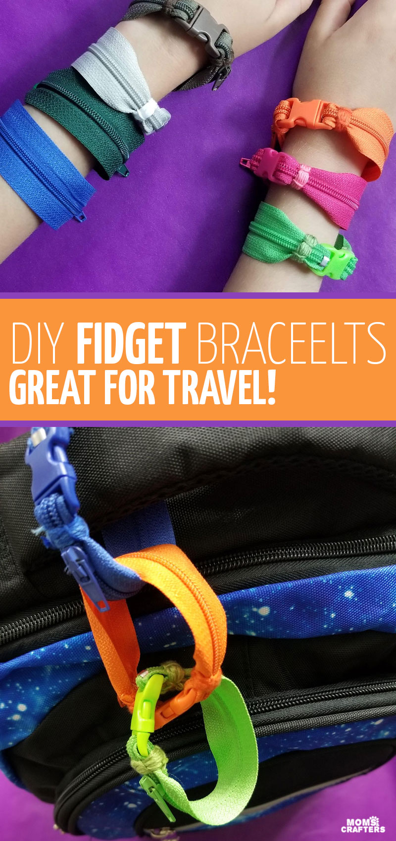 Click to learn how to make a zipper bracelet - an easy jewelry making project for kids and a fun fidget toy.