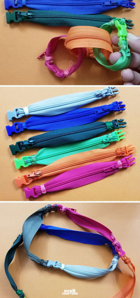 How to make a zipper bracelet using paracord buckles and colorful zippers