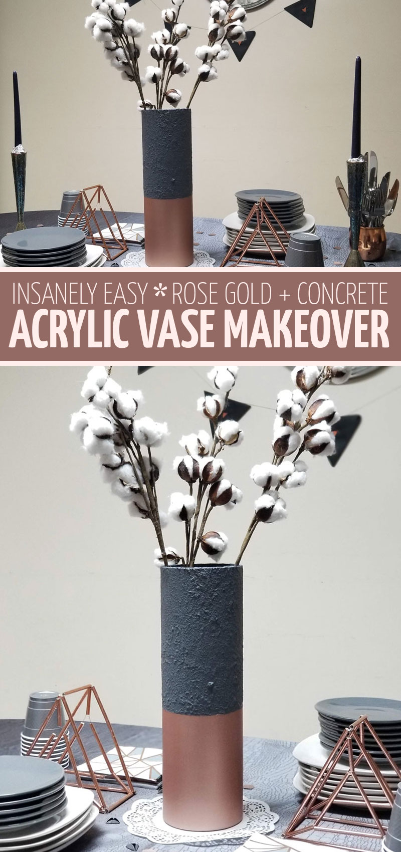 Click to learn how to do this painted vase makeover - turn an acrylic vase into a gorgeous textured concree and rose gold centerpiece! This beautiful charcoal and copper tablescape is perfect for Thanksgiving and Purim and everything in between.