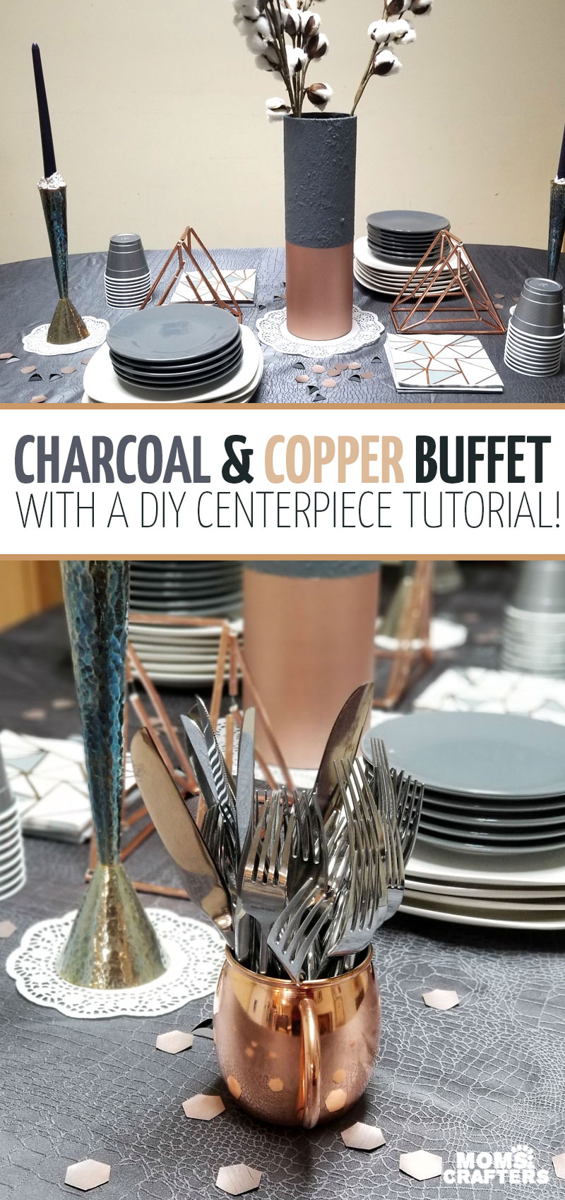 Click to read more about this gorgeous neutral tablescape idea featuring metallic copper and rose gold accents and shades of gray! It also features a painted vase makeover for a statement centerpiece.