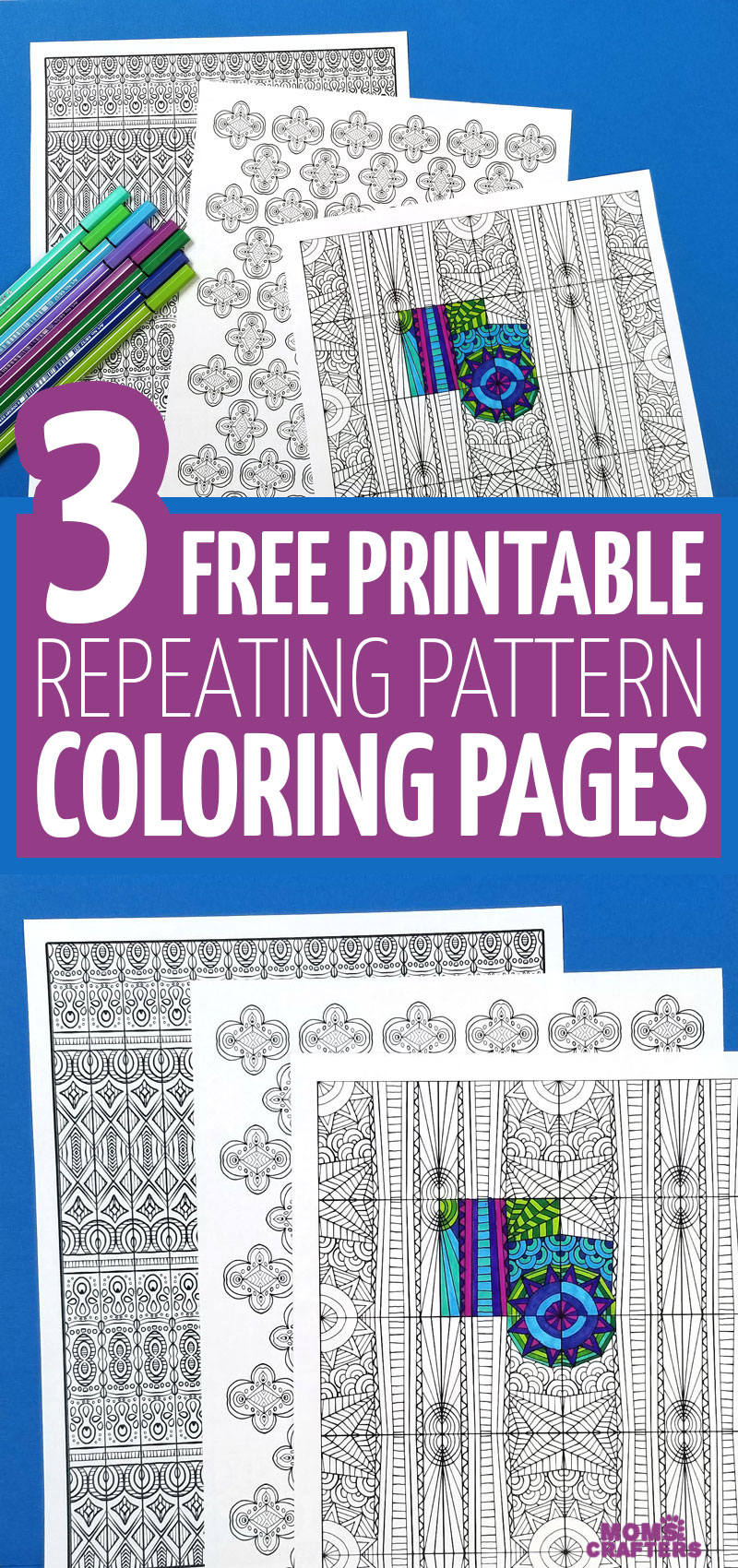 Click to download 3 free printable pattern coloring pages for adults and big kids - perfect for making coloring page crafts! This is a fun craft idea for teens and tweens on a budget, or for grown-ups.