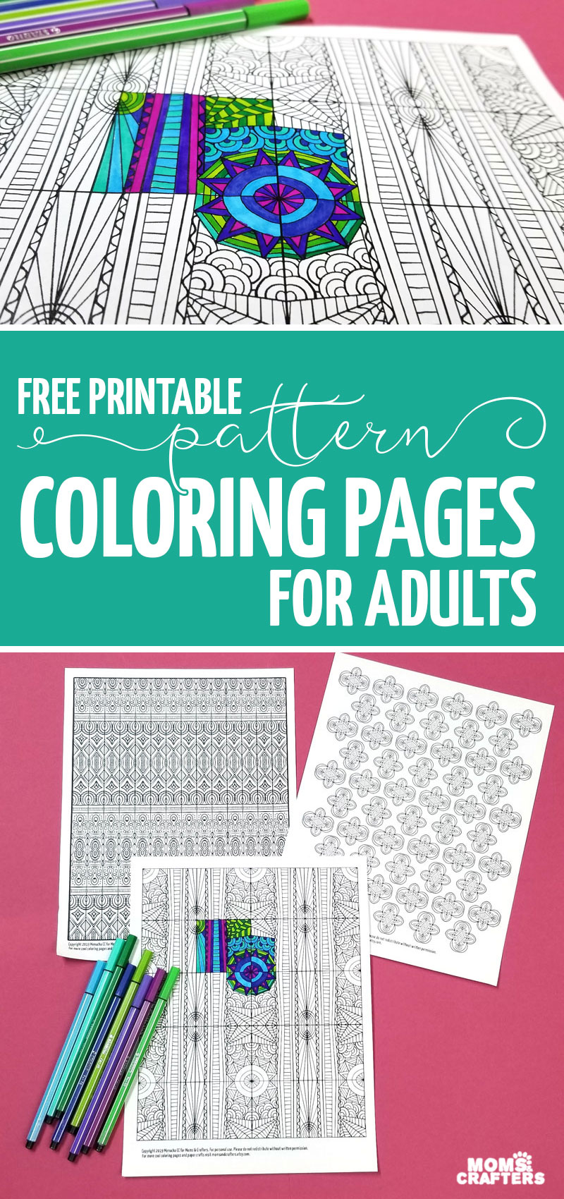 Free Printables! These pattern coloring pages are fun to use in DIY cards, gift wrap, and other paper crafts. Or color these coloring pages for adults just for fun, relaxation, meditation, and to relieve stress. Patterns make great anti anxiety coloring pages!