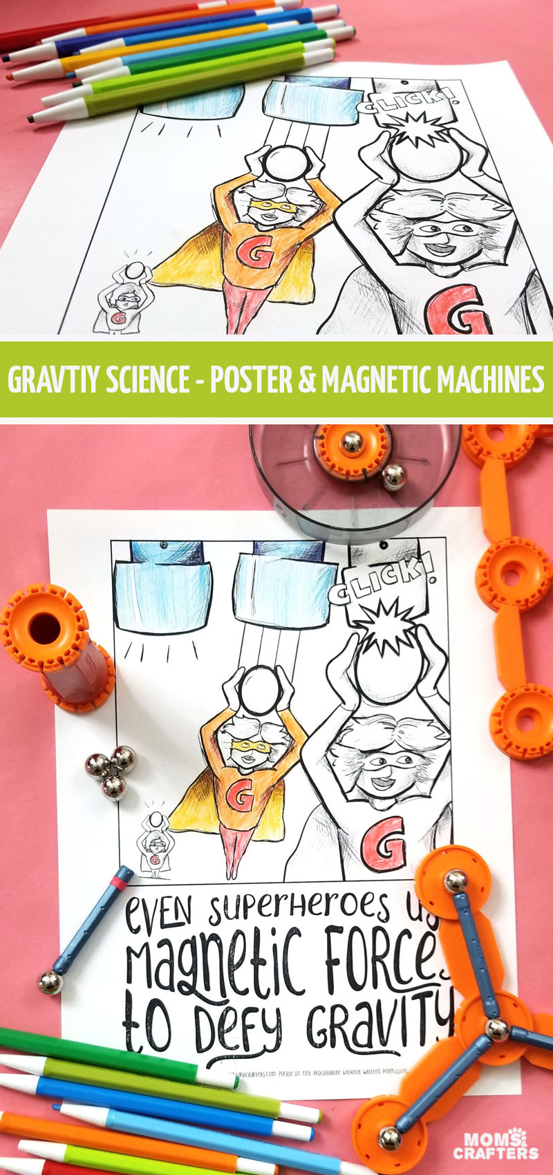 Click to download this free printable science coloring page and poster for teen and tween boys and girls! This STEM activity for kids is a fun way to learn about magnetism and gravity and a great coloring page for bigger kids who love comics!