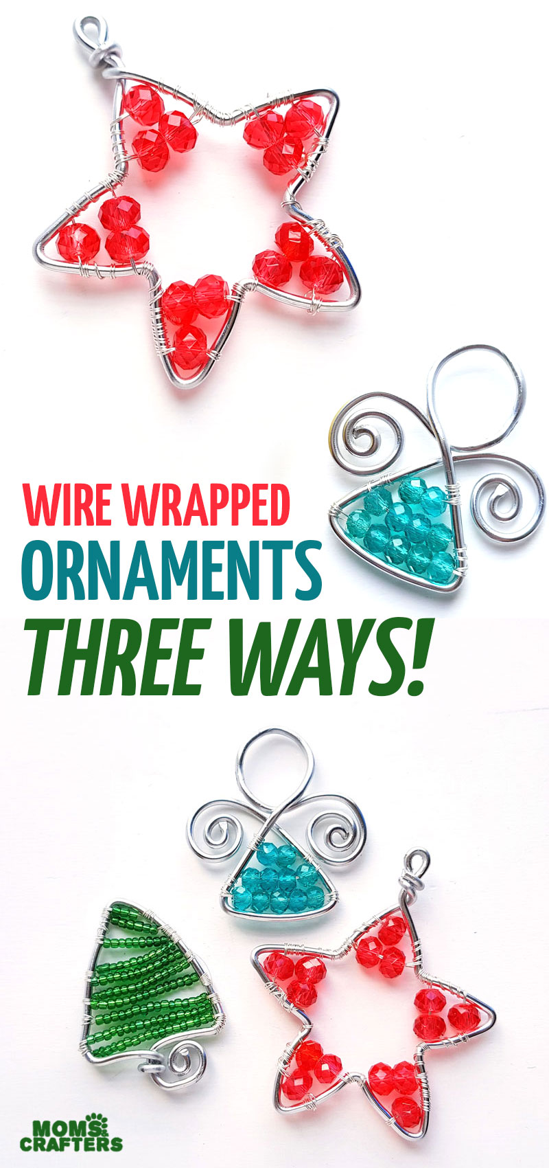 Click to learn how to make wire wrapped ornaments for your Christmas tree three ways! Make an angel ornament, a beaded tree and more cool wire wrapped ornament tutorials for adults!