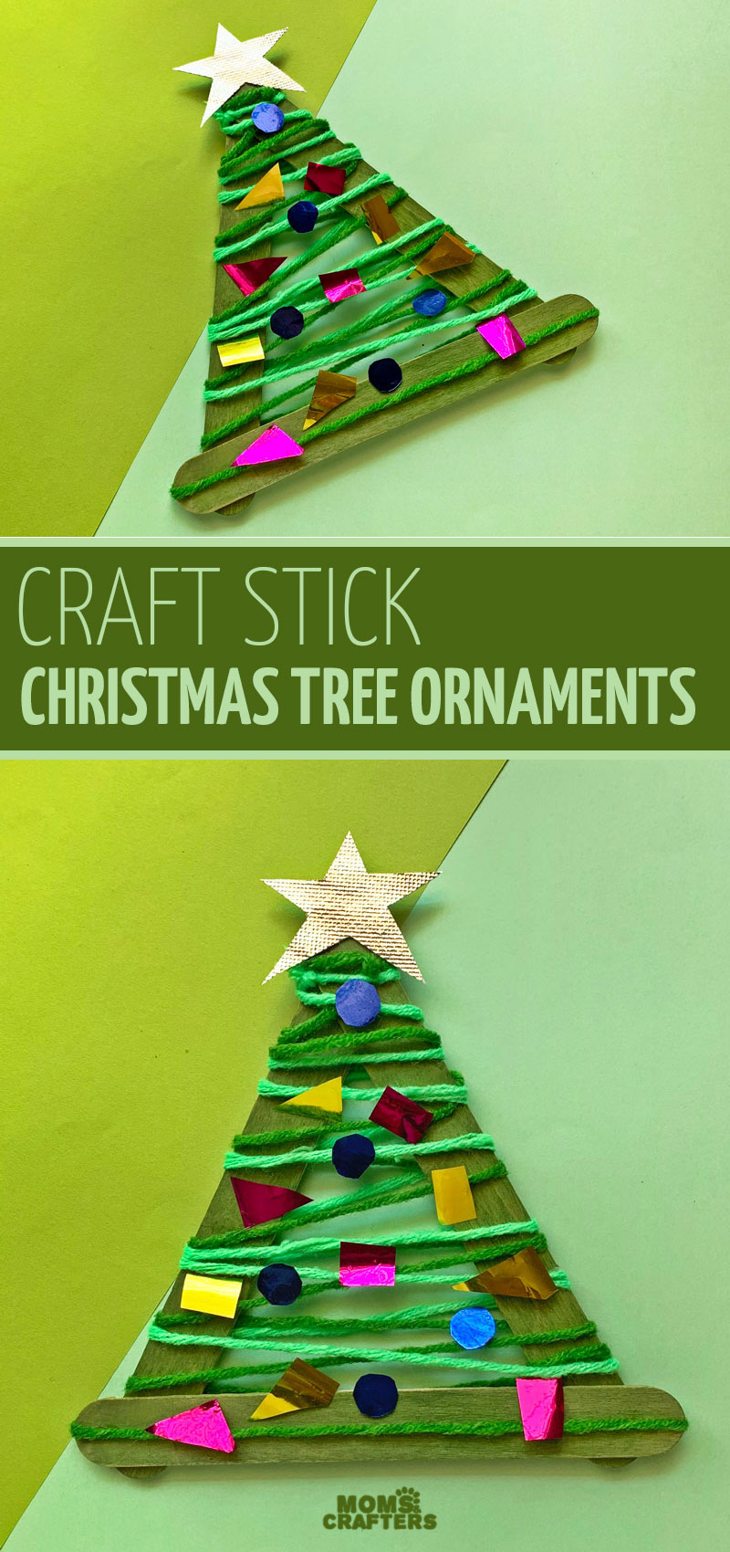 Click to make an easy DIY craft stick ornaments! This easy christmas craft for kids is fun for toddlers preschoolers and older.