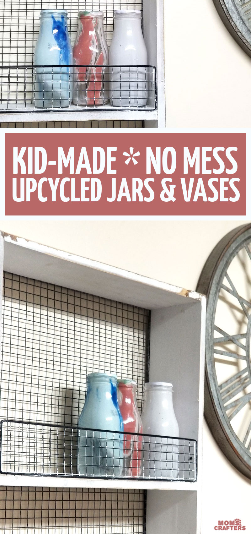 Looking for Frappuccino bottle crafts? These beautiful pour painted upcycled vases are super easy to make - and are a great kid-made gifts for toddlers, preschoolers, teens, tweens and grown ups to make for moms for mothers day or any occasion! Reuse Starbucks bottles as milk bottle displays.