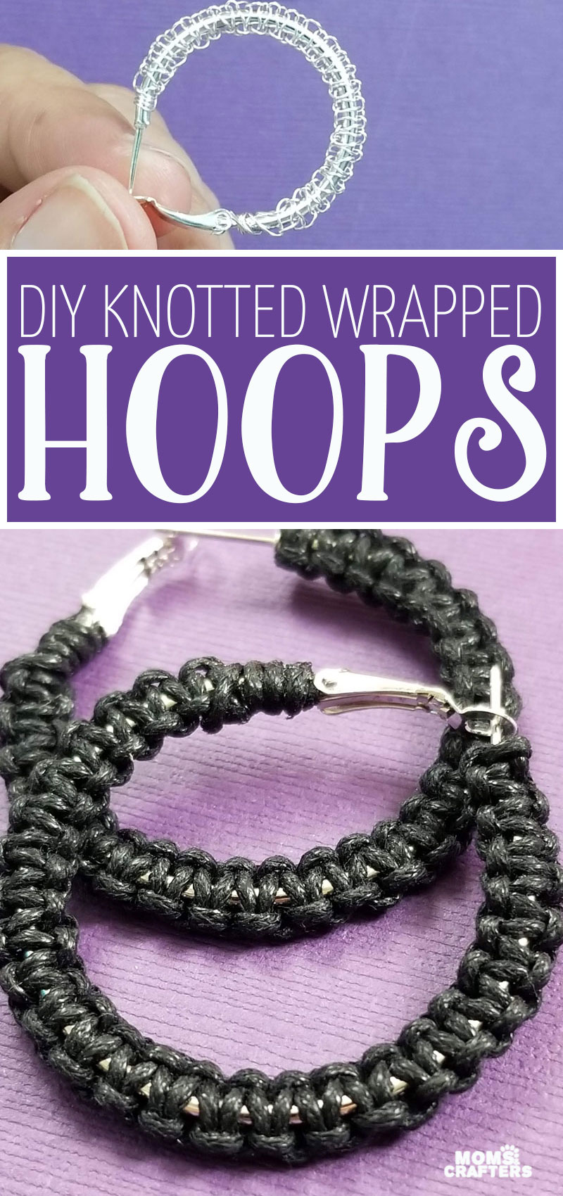 Click to learn how to make wrapped hoop earrings - using a cobra stitch! You can make these with string or cord, or even with wire, for a cool crochet earring look!