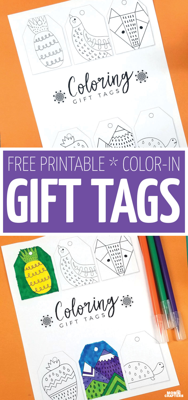 color your own gift tags with these free printable gift tags - perfect for Christmas, Hanukkah, or any time of year! These cool coloring pages for kids and adults are the perfect addition to any gift.