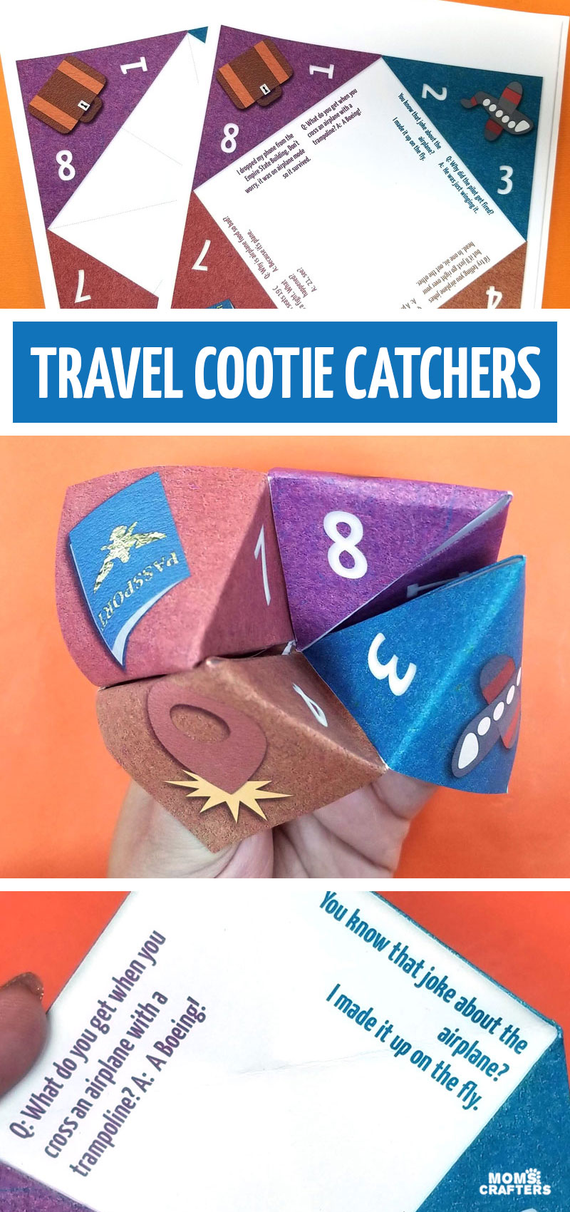 Free printable cootie catcher template for air travel! Print this free printable activity for your interational flight - or even a short road trip! Perfect for kids ages 6+ or 8+