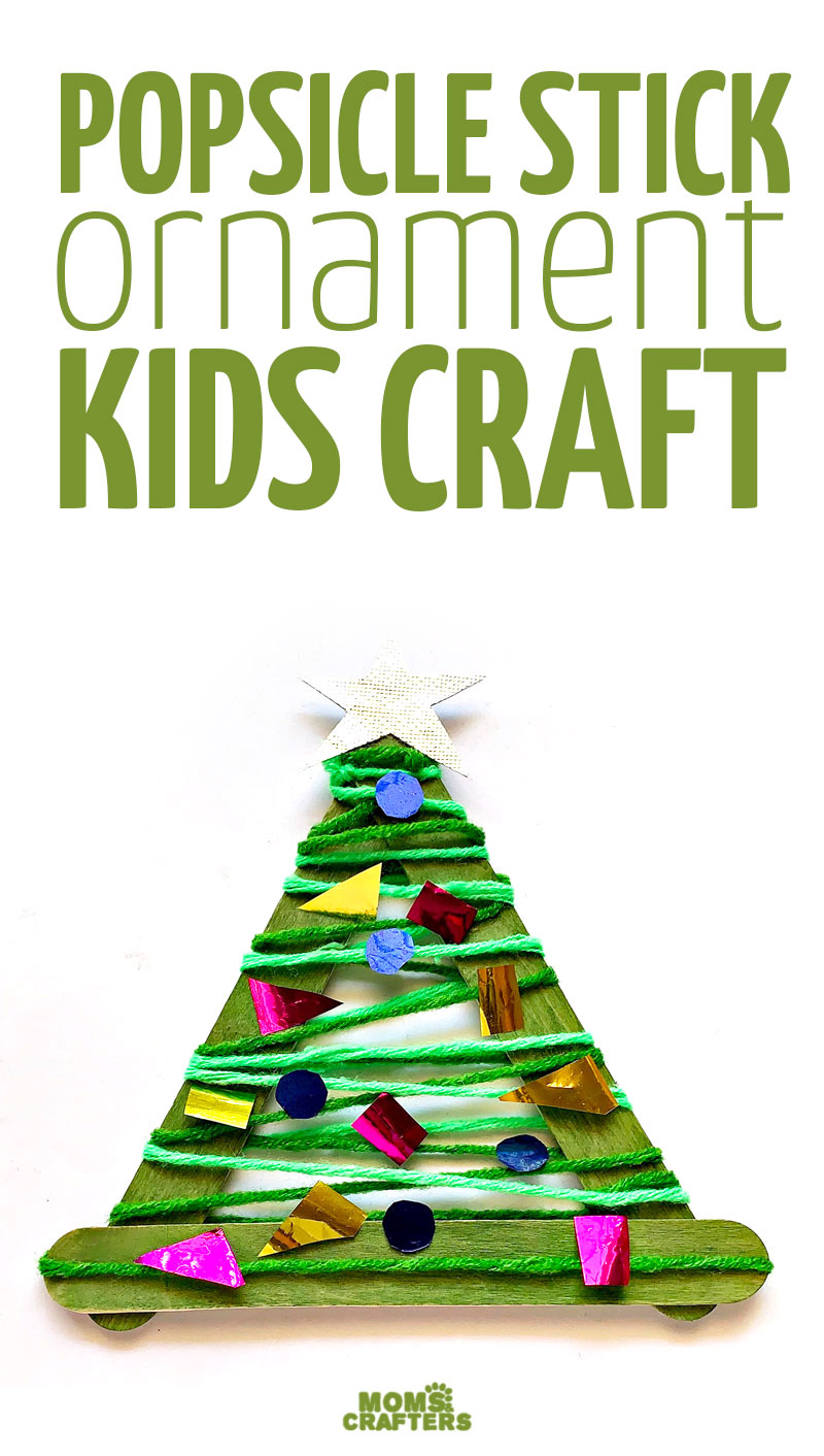 Click for this easy Christmas craft for kids! These craft stick christmas tree ornaments are fun for kids, toddlers, and preschoolers too!