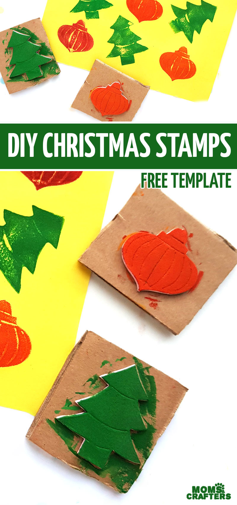 Craft your own upcycled DIY Christmas stamps with this easy Christmas craft for kids. Great for preschool and toddler Christmas crafting too!