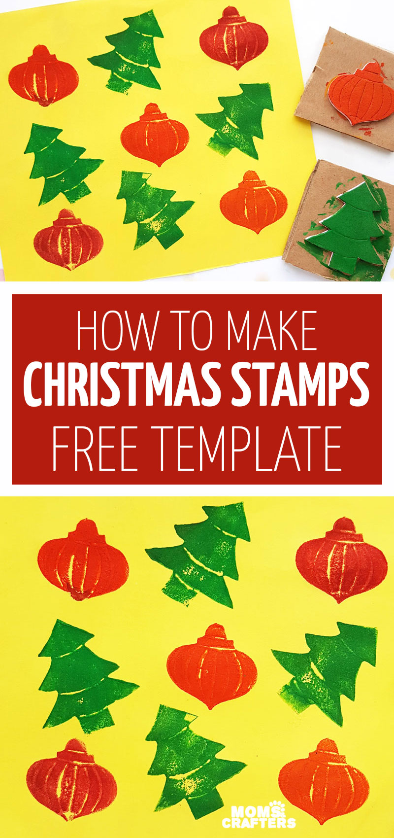 Click to learn how to make Christmas stamps with a free printable template! crate your own DIY wrapping paper with this upcycled tutorial.