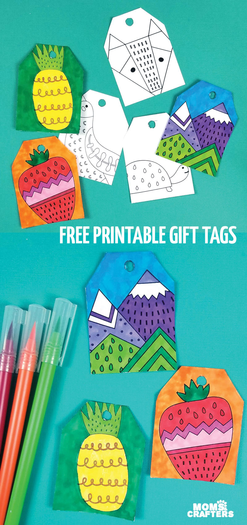 Click to download free printable gift tags to color and craft! These fun coloring pages make great Hanukkah and Christmas crafts for tweens and teens, and are cool coloring pages for kids and adults.