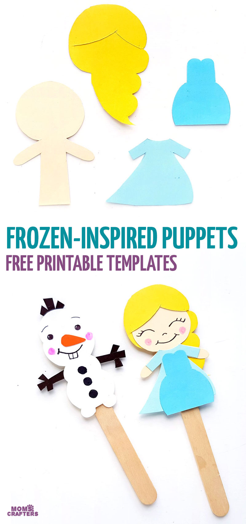 Click for free printable Frozen paper craft templates for Elsa and Olaf puppets and bookmarks!