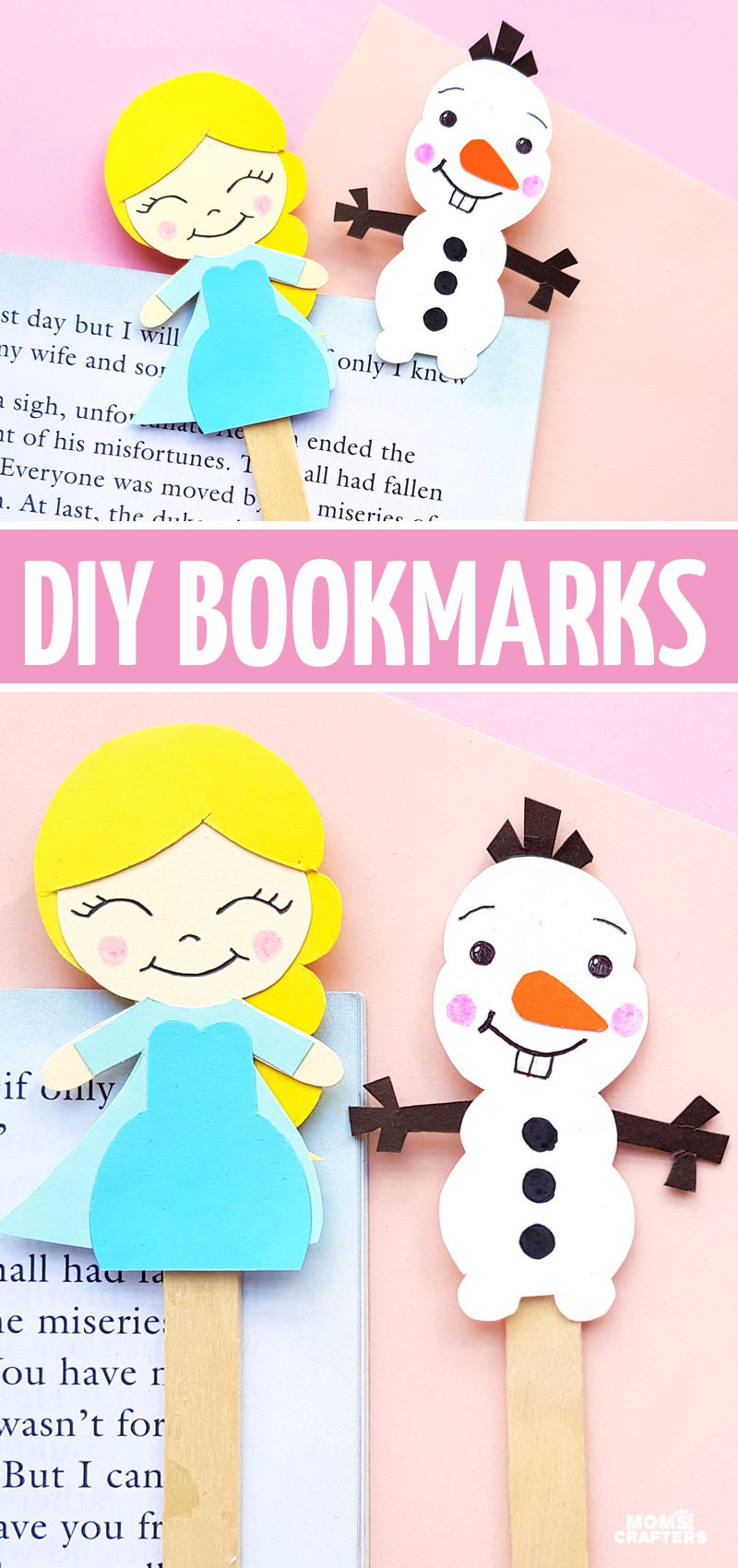 Click for the free printable template to make this Frozen paper craft! these frozen inspired puppets and DIY bookmarks can also be used for a Frozen themed birthday party crafts - make cake toppers, cards or anything with this free printable!