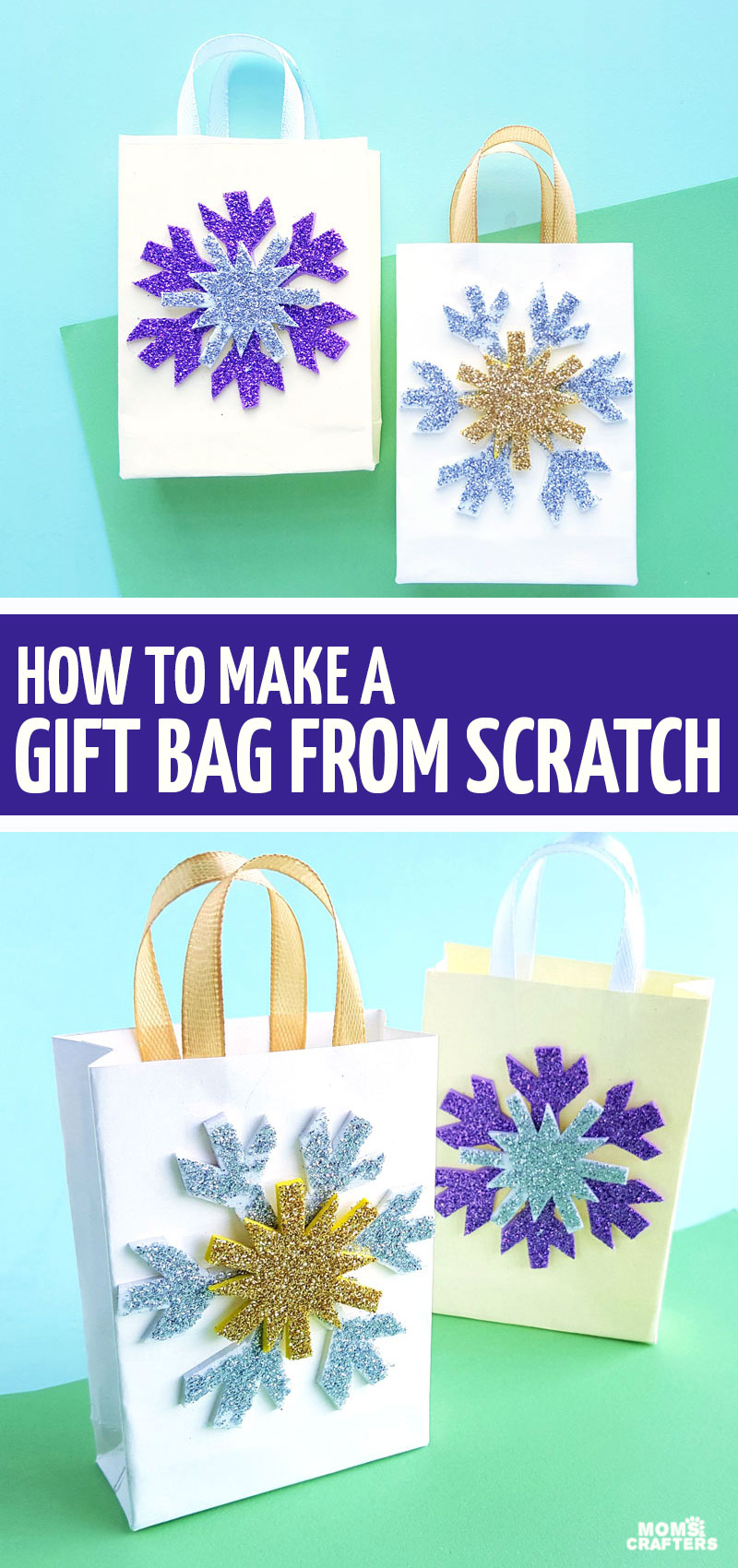 Click to learn how to make a gift bag out of wrapping paper from scratch and to learn how to create this DIY Frozen inspired snowflake gift bag!