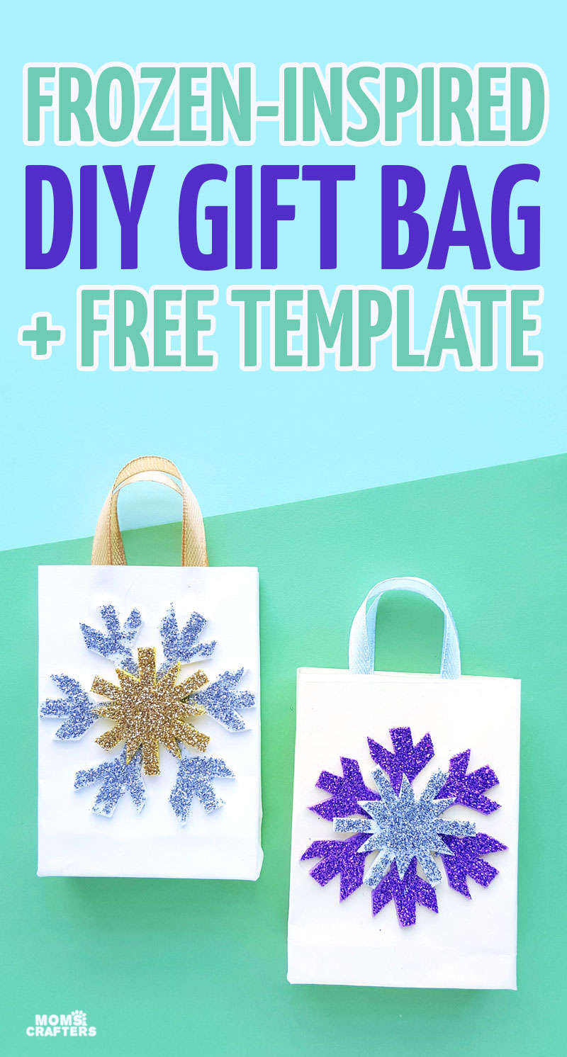 Click to use the free template to make your own DIY frozen inspired gift bag! Learn how to make a gift bag out of wrapping paper and then add the fun snowflakes using the free template for a fun DIY gift wrap idea.