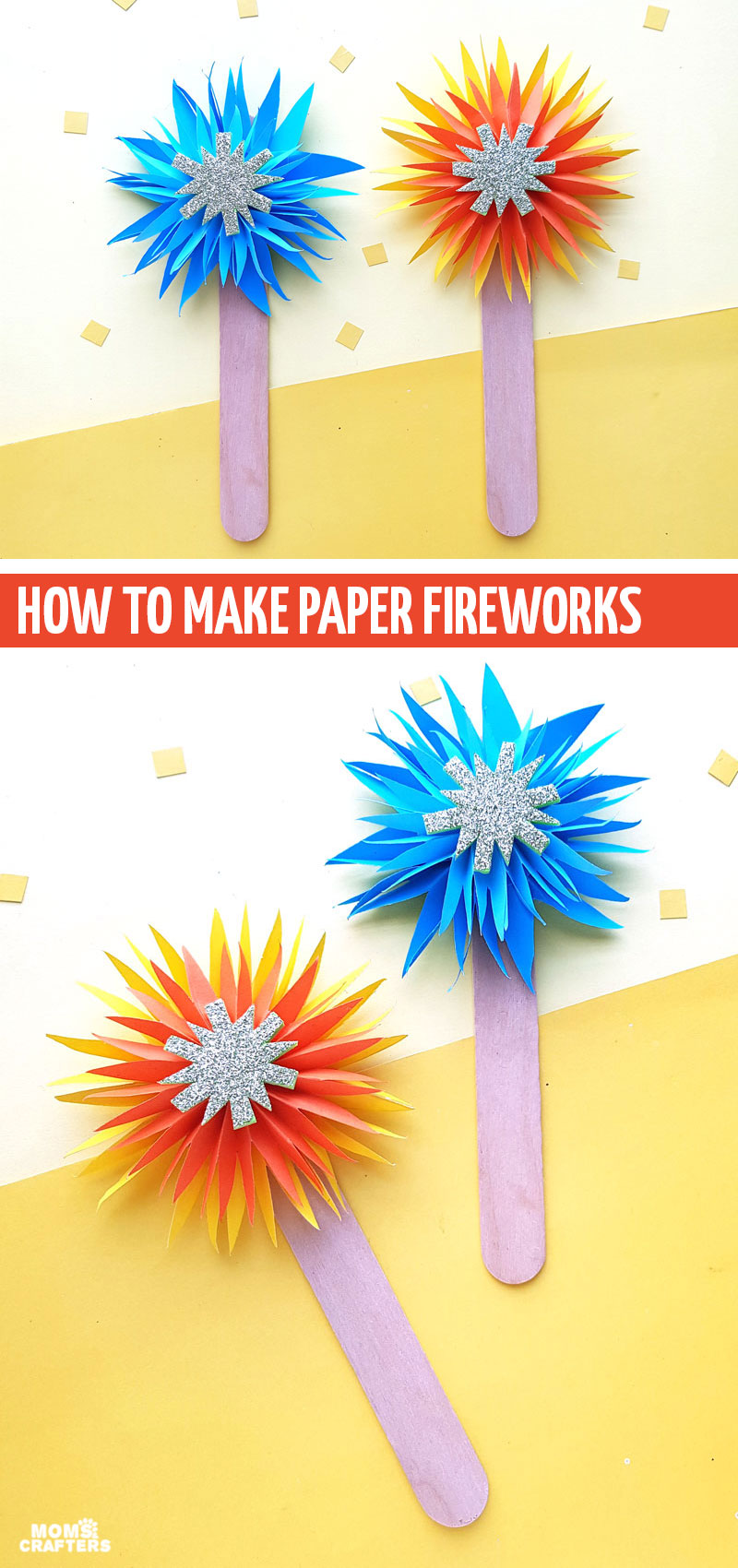 Click to make these fun paper fireworks - a fun New Year's craft for kids! Make a bunch to use as a countdown to the new year on New Year's Eve. Make a few to decorate for the 4th of July. The possibilities are endless!