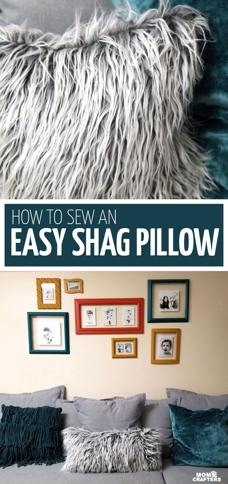 Click to learn how to make a DIY fur pillow - an easy cozy home decor idea for winter! This shag pillow uses faux fur and is a beginner sewing project that also teaches how to sew faux fur.