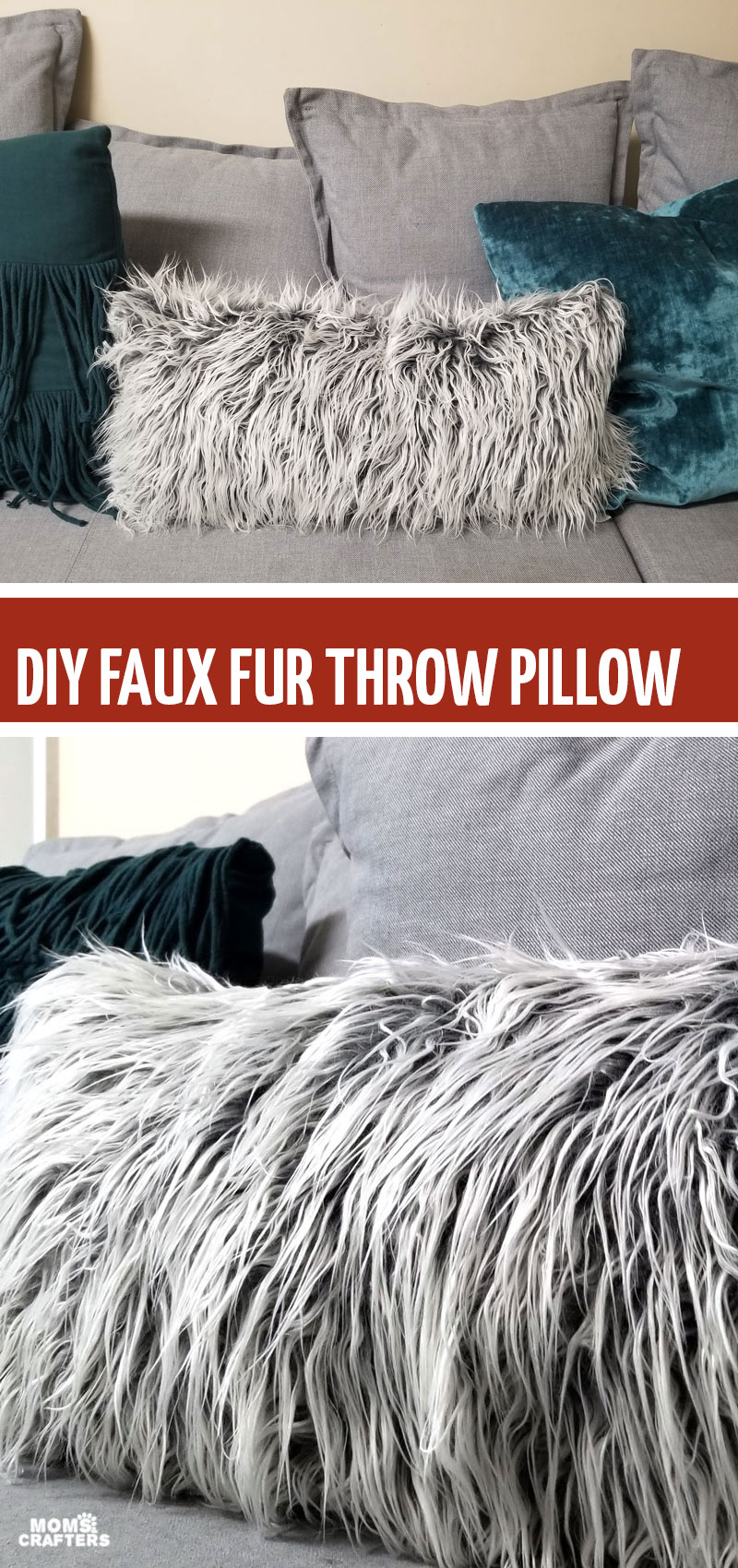 DIY fur pillow - this cozy hygge home decor is an easy sewing project for beginners and teens! It teaches you how to sew faux fur.