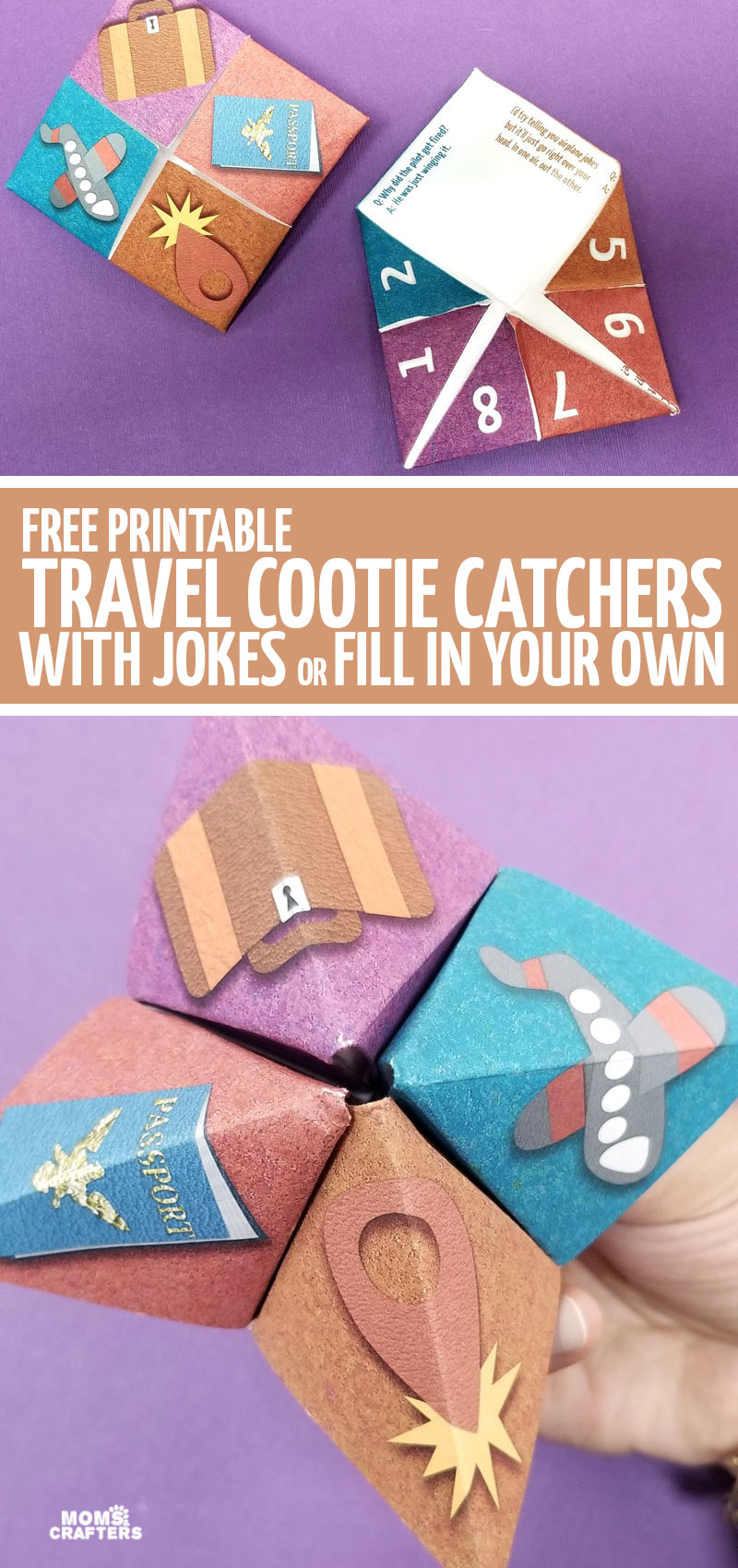 click here to download a free printable travel cootie catcher template -a fun fortune teller perfect for road trips and airplanes! Keep your kids busy with this fun free printable travel activity for kids.