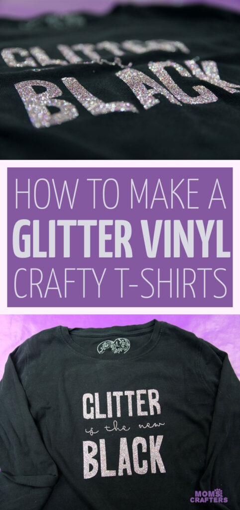 How to make a tshirt with cricut machins using glitter iron on vinyl. This easy DIY t-shirt for teens and tweens looks beautiful with glitter vinyl, and is perfect for crafters. It doesn't even need a free SVG for you to use it - just share my mat!