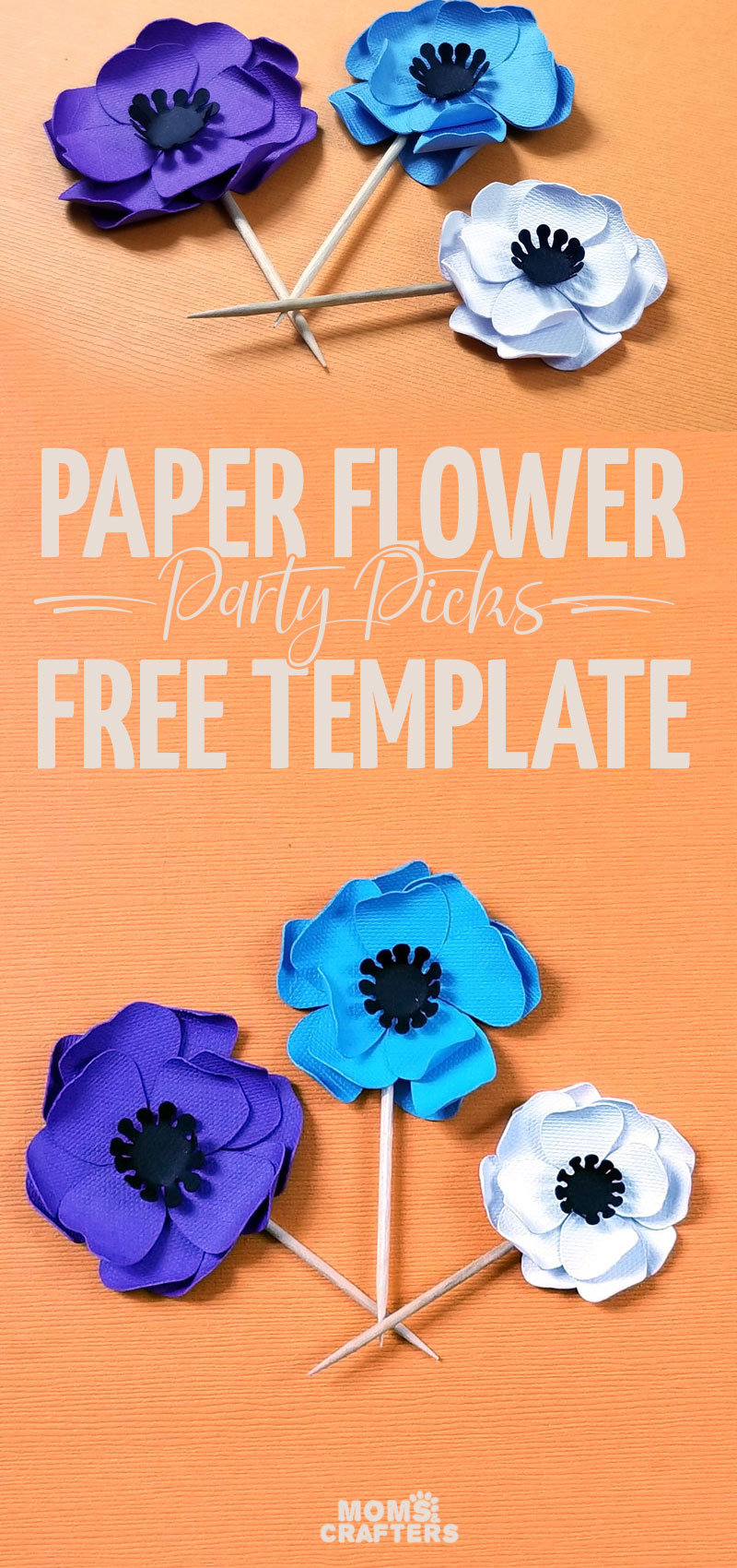 Click to download the FREE svg template to make these beautiful paper flower cupcake topper party picks using a Cricut Explore Air 2! It's my favorite Spring craft idea and a perfect card stock or paper Cricut craft for beginners