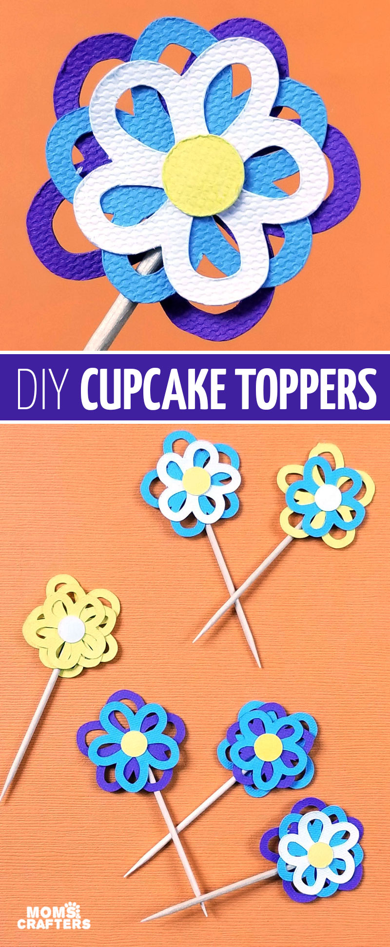 These DIY flower cupcake toppers are perfect for a girl's birthday party decoration! These pretty garden flowers are a great Cricut paper craft for beginners made using the Explore Air 2 but you can use the Cricut Maker too! These paepr flower cupcake topper toothpicks are so easy to make