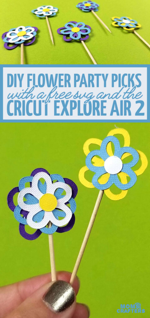 Click for the free paper flower template to make these paper flower cupcake topper party picks. These DIY flower toothpicks are easy and a great cricut ideas for beginners and for Spring