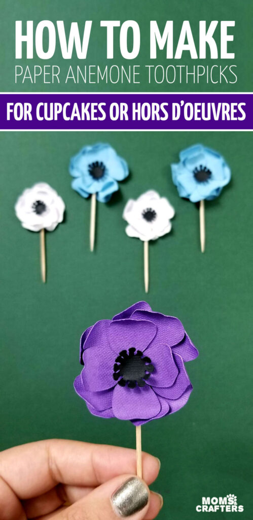 Click for the free SVG to make these free paper anemone flowers and turn them into beautiful paepr flower cupcake topper picks. It's beautiful and elegant for weddings, bat mitzvah parties, baby showers, and more and you can even turn them into magnets! Download the free SVG template.