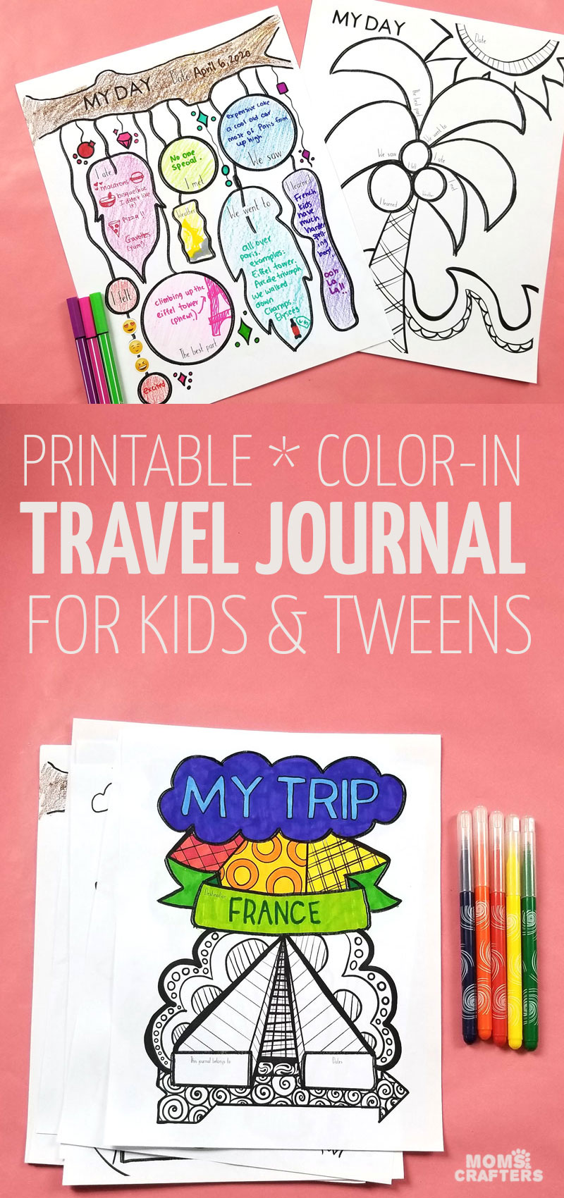 Travel with kids tip: have kids keep the memories with this travel journal for kids! This cool printable will keep you free to pack and unpack, to relax a little and is a great tool and kids activity for international travel or short flights too.