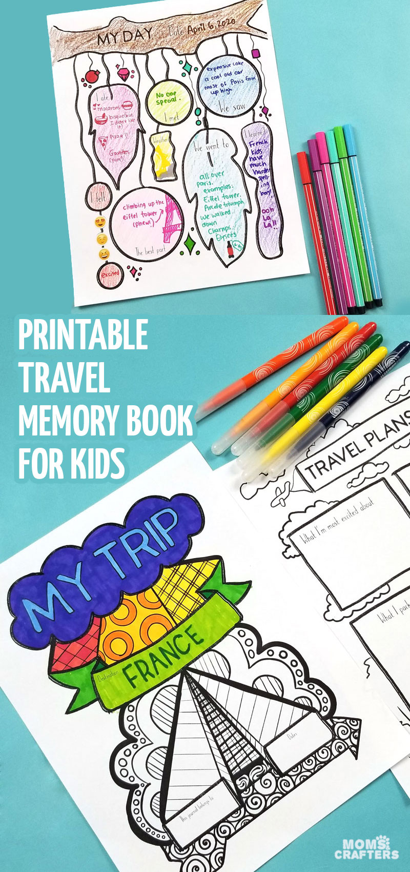 click to print a travel journal for kids - great airplane and road trip activities for kids ages 8+ teens and tweens! This travel coloring book and memory book is fun and educational for travel with kids.